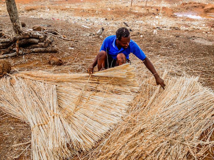 A man weaving